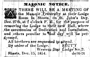 A notice appearing in the December 15, 1854 Shasta Courier
